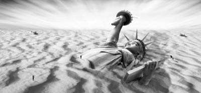 Surrealism Royalty Free Images - Liberty Park II Panoramic Royalty-Free Image by Mike McGlothlen