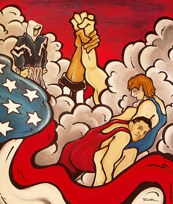 Wrestle Painting - Liberty by Robb Rael
