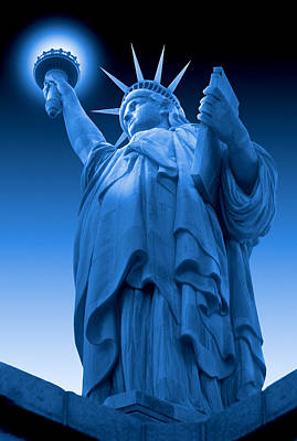 Monument Digital Art - Liberty Shines On In Blue by Mike McGlothlen