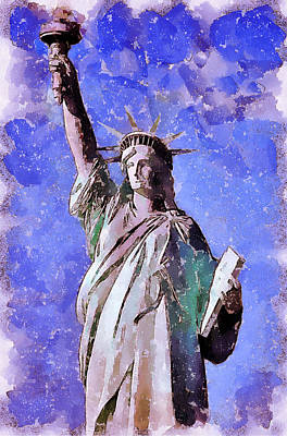 Building Exterior Digital Art - Liberty Stature Ny by Yury Malkov