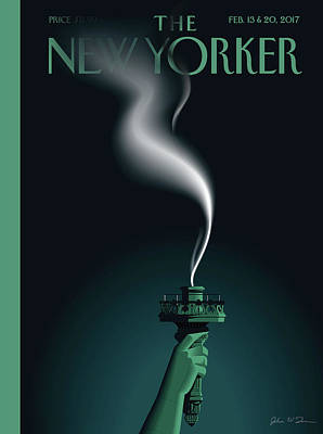 Statue Painting - Liberty's Flameout by John W Tomac