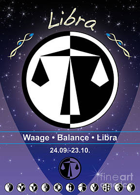 Signs Of The Zodiac Digital Art - Libra by Fabian Roessler