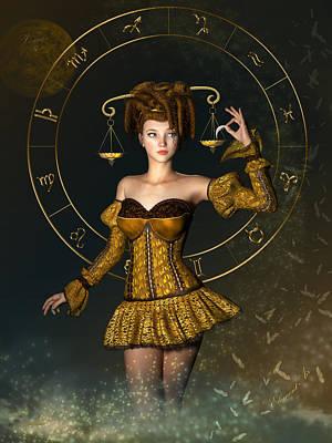 Fantasy Mixed Media - Libra Zodiac Sign by Britta Glodde