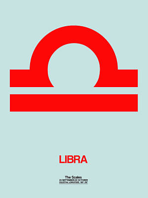 Digital Art - Libra Zodiac Sign Red by Naxart Studio