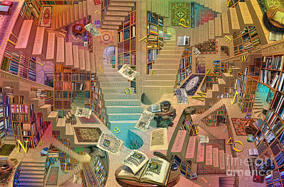 Stairs Digital Art - Library Of The Mind by Garry Walton