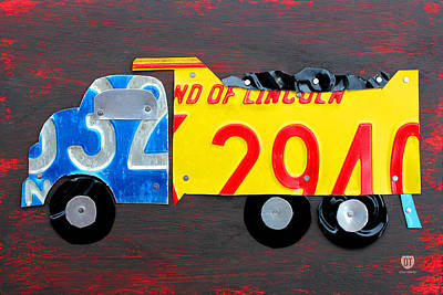 Truck Mixed Media - License Plate Art Dump Truck by Design Turnpike