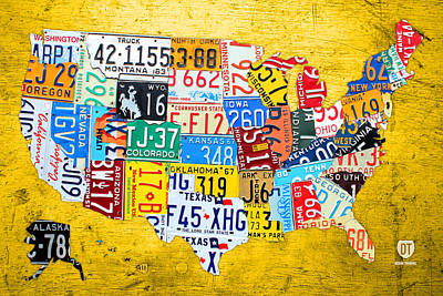 License Plate Art Map Of The United States On Yellow Board Art Print by Design Turnpike