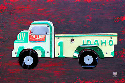 Truck Mixed Media - License Plate Art Pickup Truck by Design Turnpike