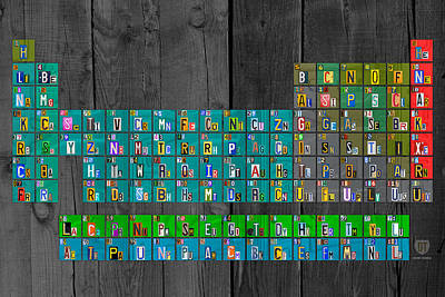 Fun Mixed Media - License Plate Art Recycled Periodic Table Of The Elements By Design Turnpike by Design Turnpike