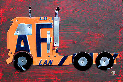 Truck Mixed Media - License Plate Art Semi Truck by Design Turnpike