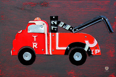 Truck Mixed Media - License Plate Art Tow Truck by Design Turnpike
