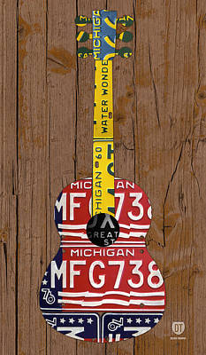 Edition Mixed Media - License Plate Guitar Michigan Edition 3 Vintage Recycled Metal Art On Wood by Design Turnpike