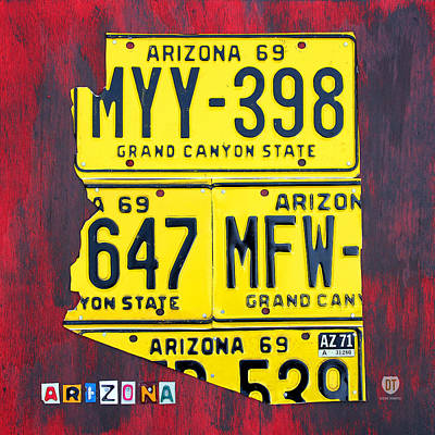 Handmade Mixed Media - License Plate Map Of Arizona By Design Turnpike by Design Turnpike