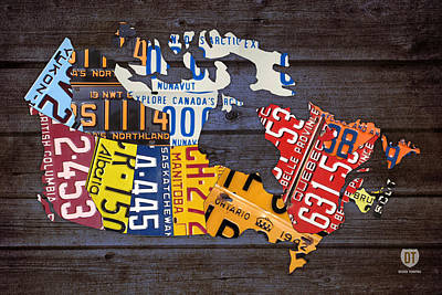 Maple Leaf Art Mixed Media - License Plate Map Of Canada by Design Turnpike