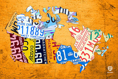 Travel Mixed Media - License Plate Map Of Canada On Bold Orange by Design Turnpike