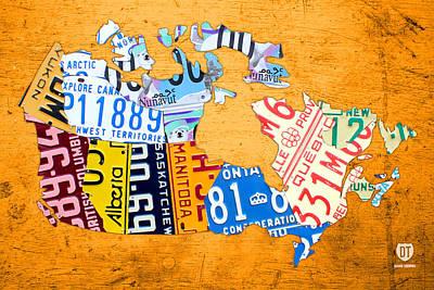 License Plate Map Of Canada On Bold Orange Art Print