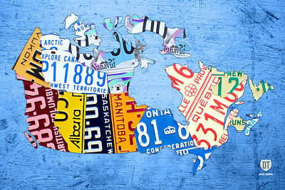 License Plate Map Of Canada On Sky Blue Art Print