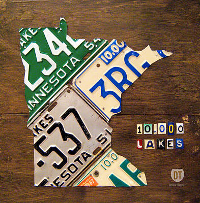 Road Trip Mixed Media - License Plate Map Of Minnesota By Design Turnpike by Design Turnpike