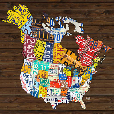 License Plate Map Of North America - Canada And United States Art Print