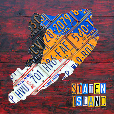 Times Square Mixed Media - License Plate Map Of Staten Island New York Nyc by Design Turnpike