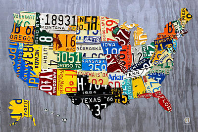 Handmade Mixed Media - License Plate Map Of The United States - Muscle Car Era - On Silver by Design Turnpike