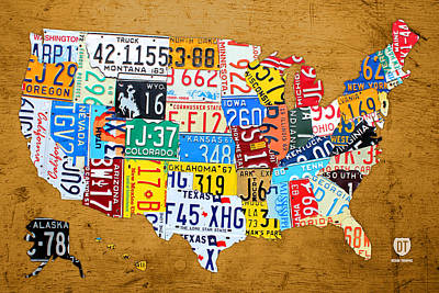 Travel Mixed Media - License Plate Map Of The United States On Burnt Orange Slab by Design Turnpike