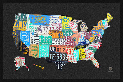 License Plate Map Of The United States On Gray Felt With Black Box Frame Edition 14 Art Print by Design Turnpike