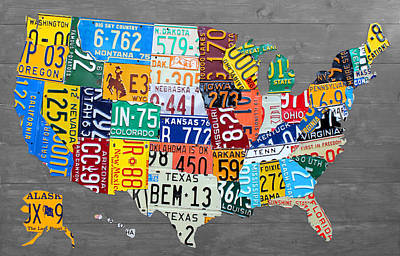 License Plate Map Of The United States On Gray Wood Boards Print by Design Turnpike