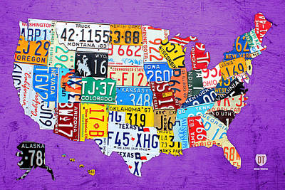 Usa Mixed Media - License Plate Map Of The United States On Vibrant Purple Slab by Design Turnpike