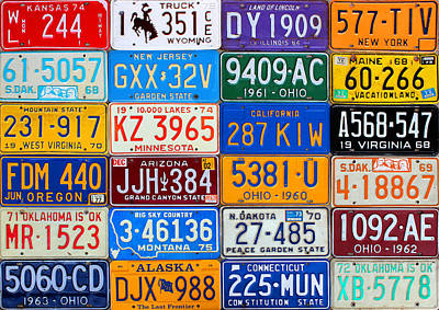 Transportation Mixed Media - License Plates Of The Usa - Our Colorful American History by Design Turnpike