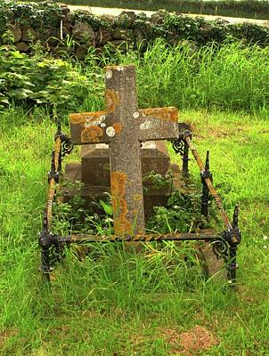 Crustose Photograph - Lichen On A Stone Cross In Clean Air by Cordelia Molloy