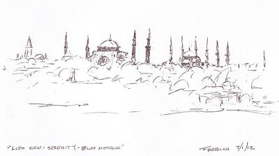 Lido View Serenity Blue Mosque Art Print by Valerie Freeman