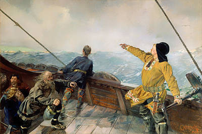 Viking Ship Painting - Lief Eirikson Discovering America by Mountain Dreams
