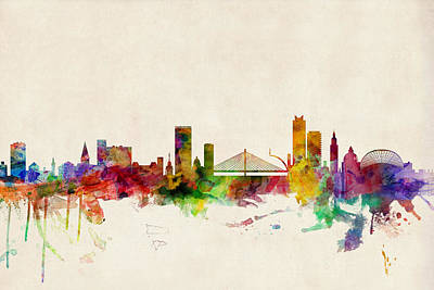 Belgium Digital Art - Liege Belgium Skyline by Michael Tompsett
