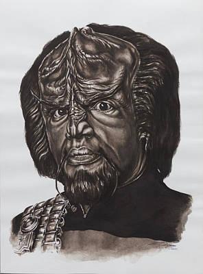 Klingon Wall Art - Painting - lieutenant commander Worf Star Trek TNG by Giulia Riva