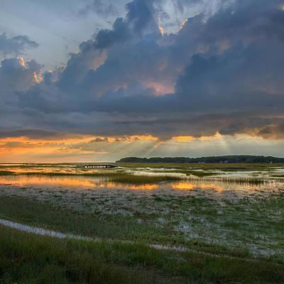 Cape Cod Mass Photograph - Lieutenant Island Sunset Square by Bill Wakeley