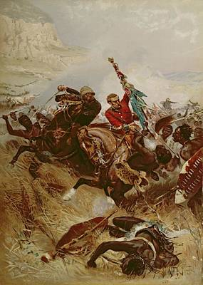 Horses Stampede Painting - Lieutenants Nelville And Coghill Saving by Alfred A.B. de Neauville