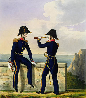 Lieutenants, Plate 1 From Costume Print by L. and Eschauzier, St. Mansion