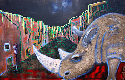 Rhinoceros Mixed Media - Life After People by Laura Barbosa