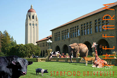 Bay Area Digital Art - Life Down On The Farm Stanford University California With Text Dsc685 by Wingsdomain Art and Photography