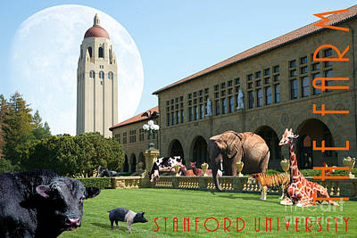 Life Down On The Farm Under The Moon Stanford University California With Text Dsc685 Print by Wingsdomain Art and Photography