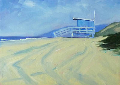 Santa Monica Painting - Life Guard by Nancy Merkle