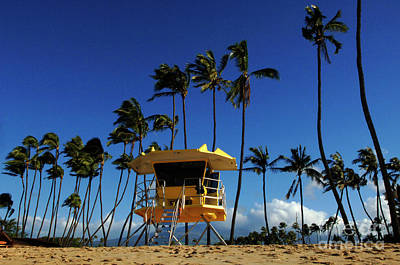 Surfboard Fence Photograph - Life Guard Station by Bob Christopher