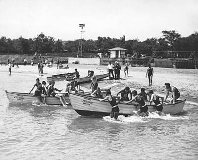 One Piece Swimsuit Photograph - Life Guards Summer Training by Underwood Archives