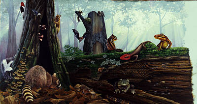 Salamanders Painting - Life In A Dead Tree by Chase Studio