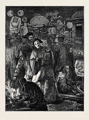 Vintage Lamp Drawing - Life In China The Feast Of Lanterns by Chinese School