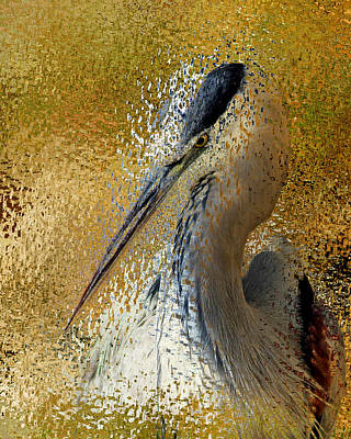 Heron Mixed Media - Life In The Sunshine - Bird Art Abstract Realism by Georgiana Romanovna