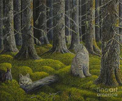 Bobcat Painting - Life In The Woodland by Veikko Suikkanen