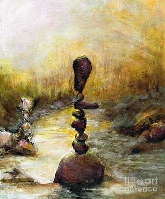 Landscape With Rocks Painting - Life Is A Balancing Act by Frances Marino