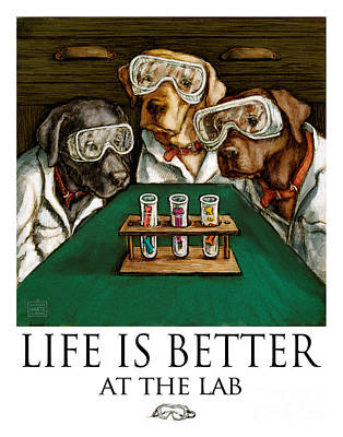 Retrievers Mixed Media - Life Is Bette At The Lab - Labrador Retrievers by Kathleen Harte Gilsenan
